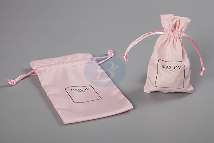 pink satin wholesale drawstring bag manufacturer