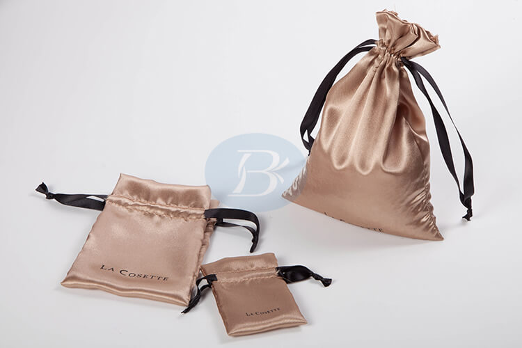 custom brown satin pouch factory