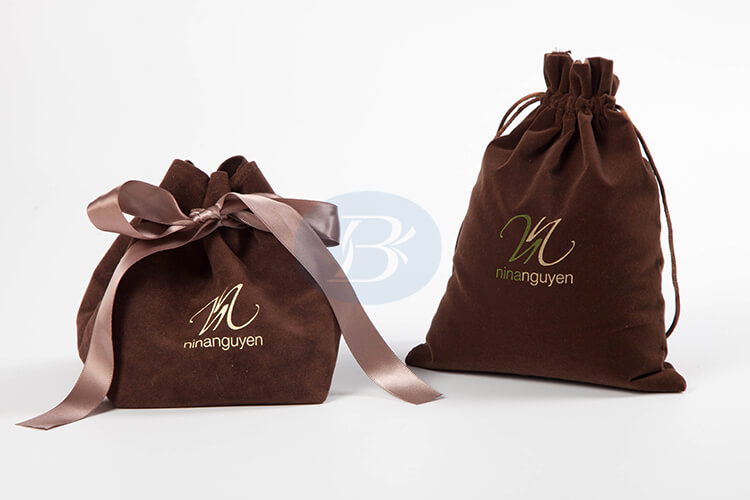 custom brown velvet gift bags factory