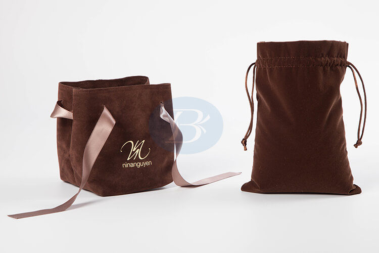 custom brown velvet gift bags manufacturer