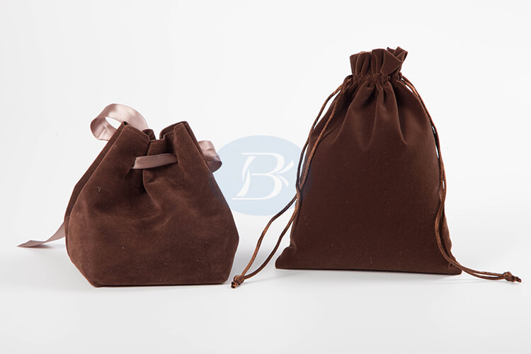 custom brown velvet gift bags wholesale