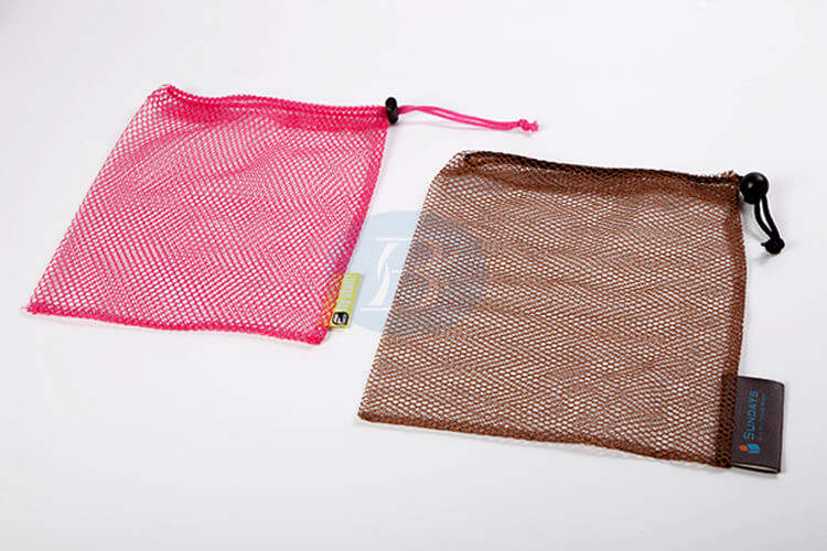 pink and brown mesh drawstring pouch wholesale