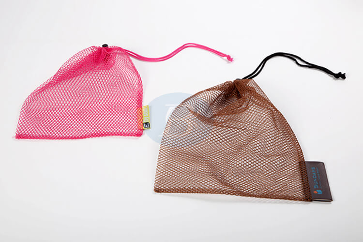 custom pink and brown mesh drawstring pouch