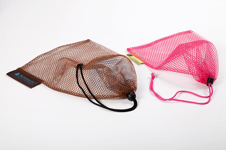 custom pink and brown mesh drawstring pouch wholesale