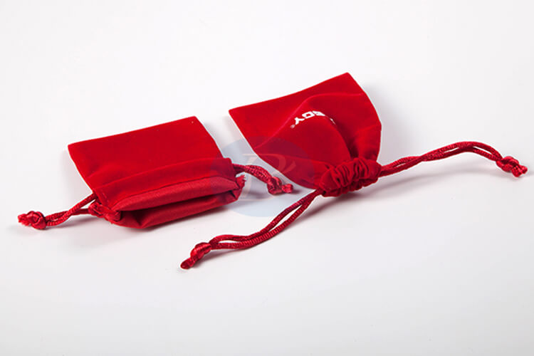 red velvet drawstring bag