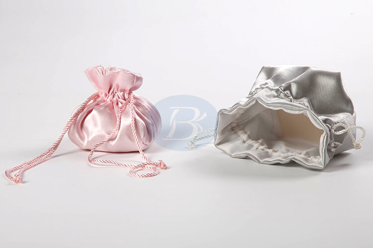 Custom satin drawstring pouch jewelry bag