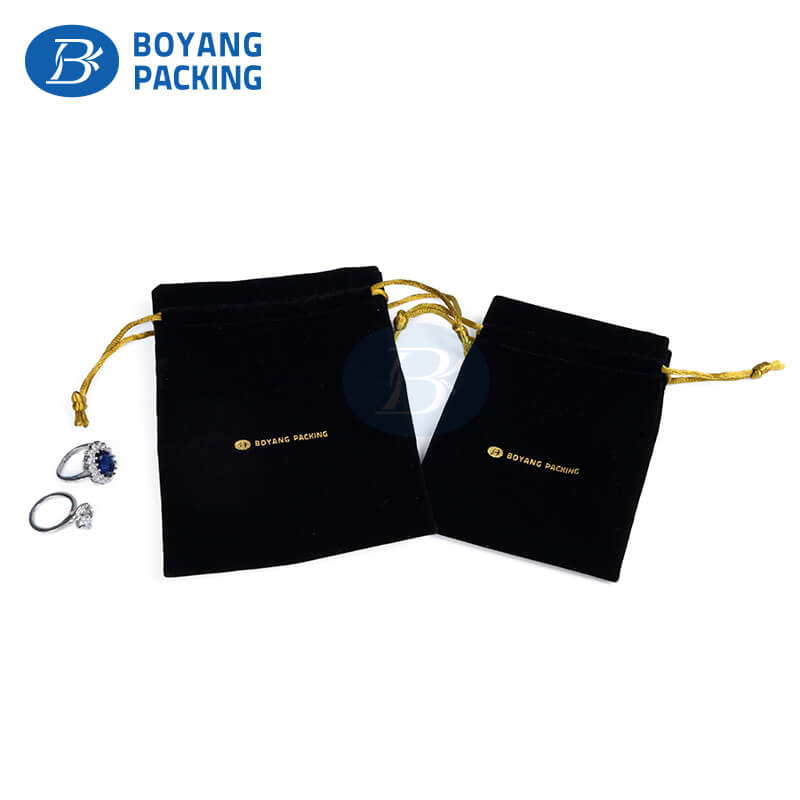 high quality black velvet Jewelry pouch manufacturer
